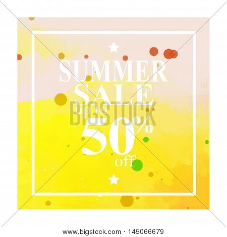 Season summer sale 50 off sign over. Stain brush art paint abstract texture background design acrylic poster. Perfect watercolor design for sale shop and sale banners.