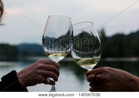 Waterscape White Wine Glasses Toast Cheers Austria