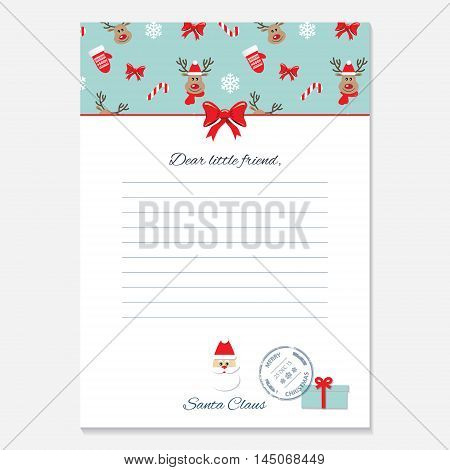 Christmas letter from Santa Claus template. Pattern with deers added in swatches.