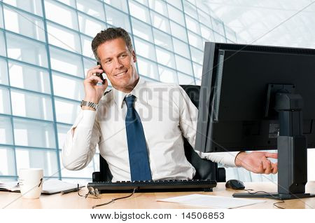 Successful businessman sit at his desk while talking on mobile in office poster
