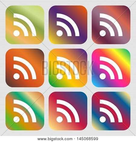 Rss Feed Icon. Nine Buttons With Bright Gradients For Beautiful Design. Vector