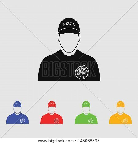 Pizza deliveryman  Vector Icon for web and mobile