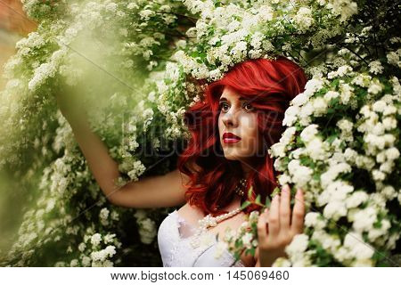 Beautiful girl (25 years old) in white wedding dress on a background of spirea bushes with lots of small white flowers