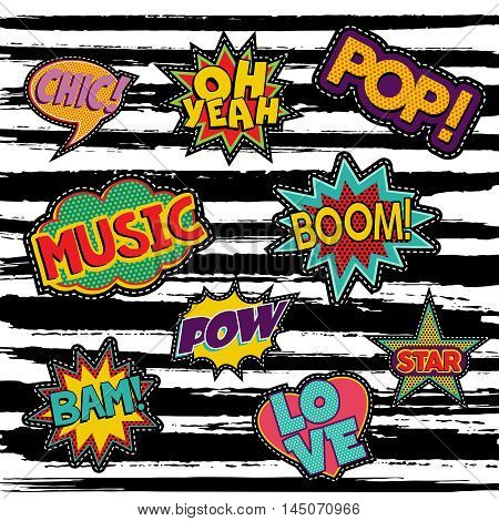 Set Of Retro Pop Art Sticker Or Patch Designs
