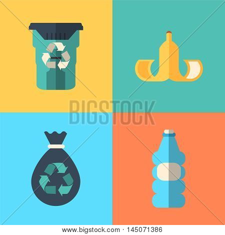 four waste concept icons design vector illustraion