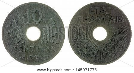 10 Centimes 1944 Coin Isolated On White Background, France