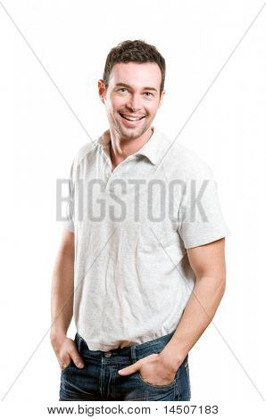 Happy young man smiling with joy and looking at camera isolated on white background