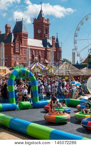 Cardiff United Kingdom - August 29 2016: Families enjoying the bank holiday at the annual Cardiff Harbour Festival & P1 Welsh Grand Prix of the Sea in Cardiff Bay.