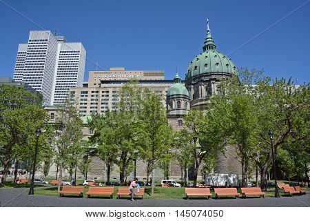 MONTREAL QUEBEC CANADA AUGUST 30 2016: Downtown Montreal, Sunlife and Place ville Marie Buildings, Cathedral-Basilica of Mary, Queen of the World