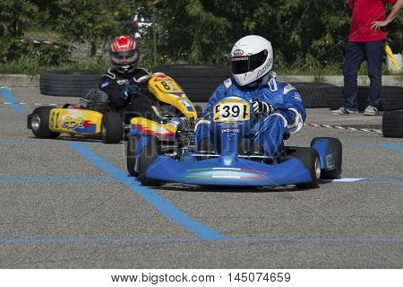 Cantu , Italy -7 September 2014 : exhibition open to the public go-kart : kart portrait