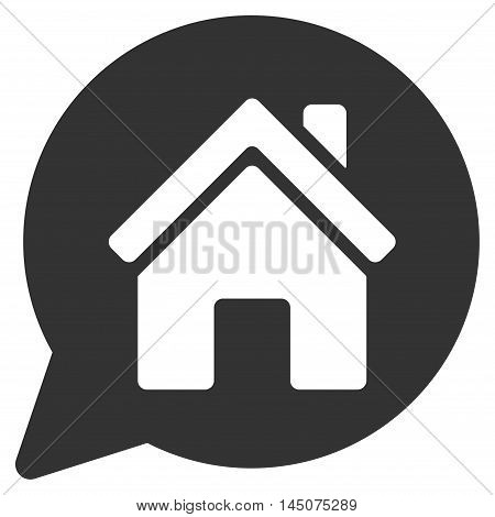 House Mention icon. Glyph style is flat iconic symbol, gray color, white background.