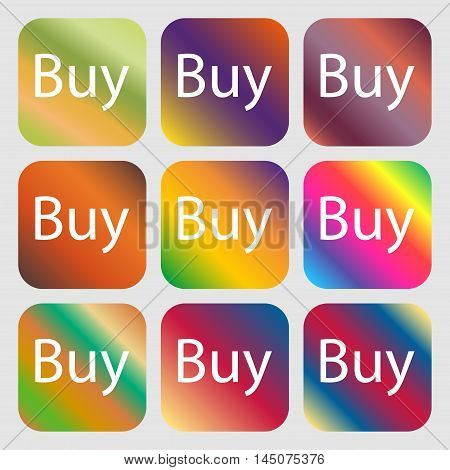 Buy Sign Icon. Online Buying Dollar Usd Button . Nine Buttons With Bright Gradients For Beautiful De