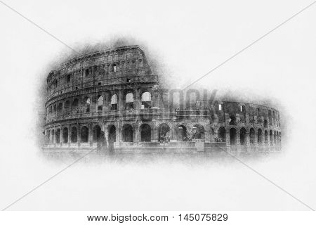 Vintage etching or print of the Colosseum, Rome with copy space for a travel or tourism related concept