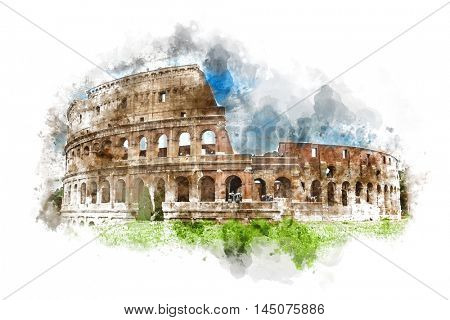 Watercolor painting of the Colosseum, Rome, Italy with a green grass foreground under a blue sky with splash and brushstrokes for a postcard travel souvenir with copy space