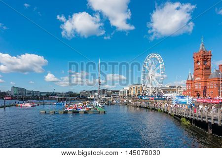 Cardiff United Kingdom - August 29 2016: Tourists and locals are watching eleven powerboats and more than thirty jet ski riders competing in the fourth round of the P1 national championships at the Cardiff Harbour Festival & the P1 Welsh Grand Prix of the