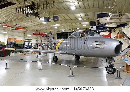 Kalamazoo, MI, USA - June 23, 2016: North American F-86 Sabre on display at the Air Zoo Museum in Kalamazoo, Michigan