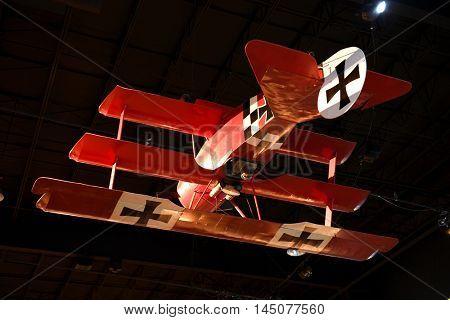 Kalamazoo, MI, USA - June 23, 2016: Fokker Tri-Plane replica on display at the Air Zoo Museum in Kalamazoo, Michigan