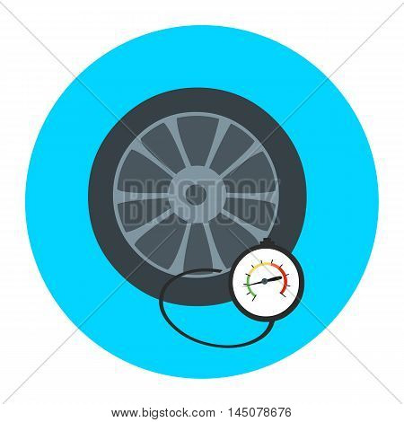 Tire pressure gauge. Checking tire pressure. Gauge, manometer. Car safe concept. Sign, wheel car with instrument measures pressure. Icon tire.