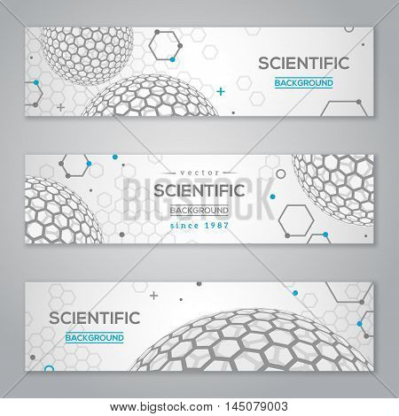 Horizontal Banners Set with Abstract Molecules Design. Vector illustration. Atoms. Medical Scientific Background. Molecular Structure with Light Spherical Particles like Fullerene