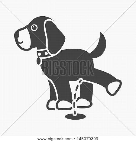 Pissing dog vector illustration icon in black design