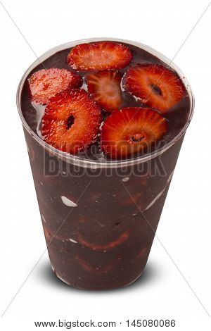 Acai Cup. Brazilian Famous Fruit From Amazon With Strawberry
