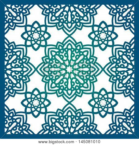 Square Pattern panel for laser cutting with mandalas. Kirigami filigree pattern frame. For wedding invitation envelope baby shower postcards. Cards for transfer printing