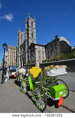 MONTREAL QUEBEC CANADA AUGUST 30 2016: Notre-Dame Basilica (French: Basilique Notre-Dame de Montreal) is a basilica in the historic district of Old Montreal