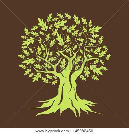 Beautiful green oak tree silhouette isolated on brown background. Web graphics modern vector sign. Premium quality illustration logo design concept.