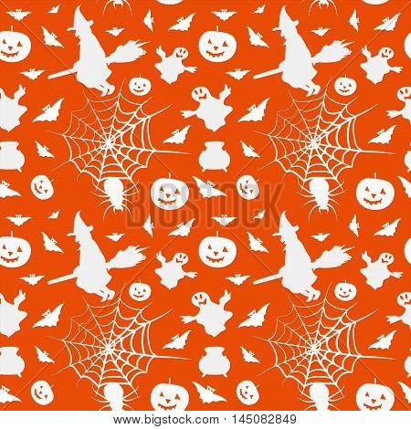 Halloween card seamless pattern background with witch pumpkin bat boiler spyder web and ghost