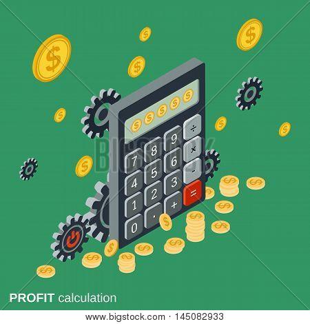 Business calculator, financial statistics, profit calculation flat isometric vector illustration