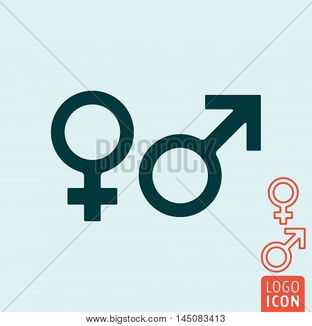Gender icon. Women and Men - Venus and Mars symbol. Vector illustration