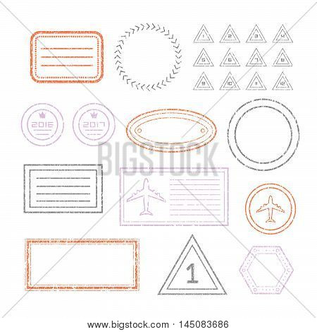 Travel Document And Blank Stamps Set