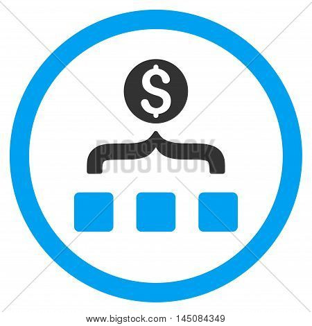 Money Aggregator rounded icon. Vector illustration style is flat iconic bicolor symbol, blue and gray colors, white background.