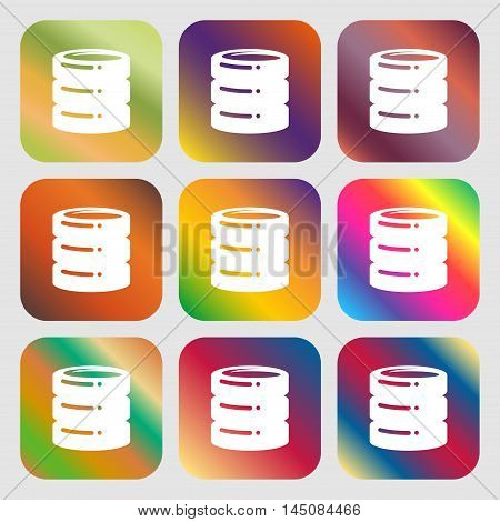Hard Disk, Date Base Icon. Nine Buttons With Bright Gradients For Beautiful Design. Vector