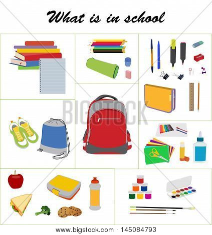 What is in school bag. School essentials flat vector set. School backpack, gym bag, lunch box, books, and supplies vector collection.