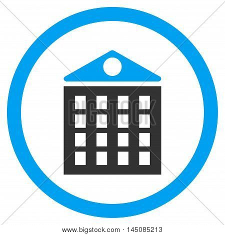 Multi-Storey House rounded icon. Vector illustration style is flat iconic bicolor symbol, blue and gray colors, white background.