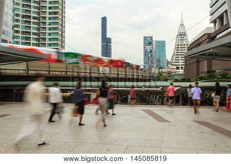 Bangkok's city life with BTS skytrain in the evening Thailand.