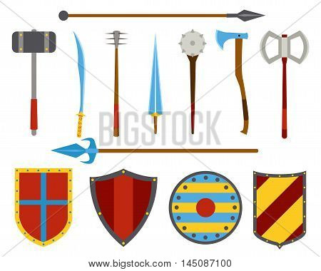 Ancient weapon and shields tool equipment set. Melee weapon. Cold weapon. Heraldic shields.