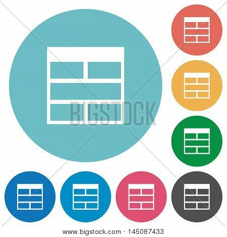 Flat Spreadsheet horizontally merge table cells icon set on round color background.