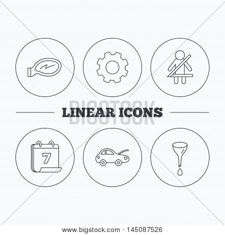 Car mirror repair, oil change and seat belt icons. Fasten seat belt linear sign. Flat cogwheel and calendar symbols. Linear icons in circle buttons. Vector