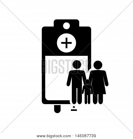 flat design iv drip bag and family pictogram icon vector illustration