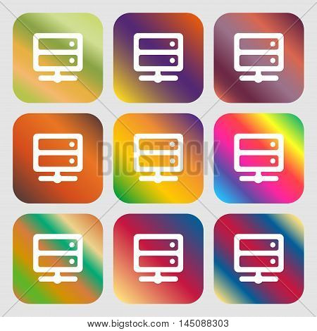 Server Icon. Nine Buttons With Bright Gradients For Beautiful Design. Vector