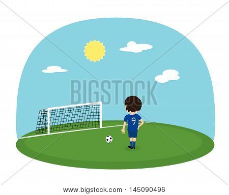 Cartoon boy in blue jersey with number nine practice kicking on training football stadium. Sunny day soccer background. Penalty kick