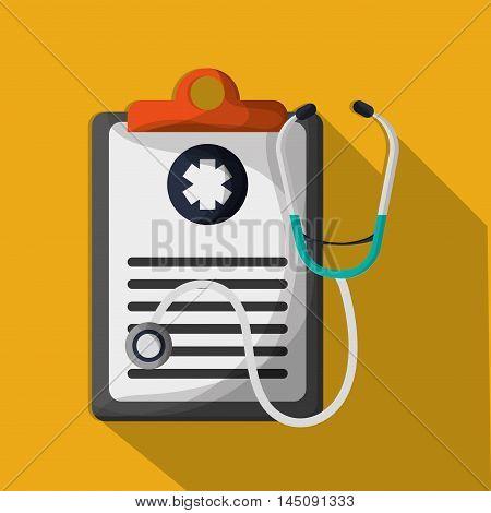 checklist stethoscope medical health care hospital icon. Colorful design. Vector illustration