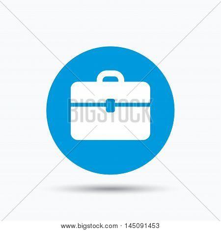 Briefcase icon. Diplomat handbag symbol. Business case sign. Blue circle button with flat web icon. Vector