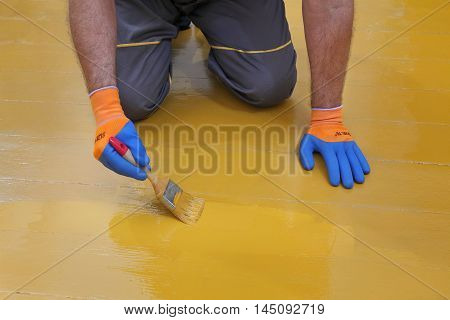 Worker painting wooden floor to yellow using paintbrush