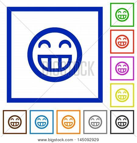 Set of color square framed laughing emoticon flat icons