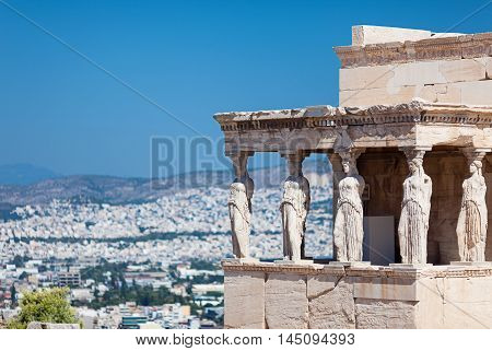The Erechtheion. Porch of the Caryatids (Porch of the Maidens) Acropolis of Athens Greece poster