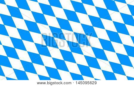 Flag of Bavaria. Oktoberfest checkered background with blue and white rhombus. Bavarian flag pattern. Vector illustration