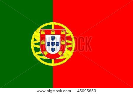 Flag of Portugal in correct size proportions and colors. Accurate dimensions. Portuguese national flag. Vector illustration